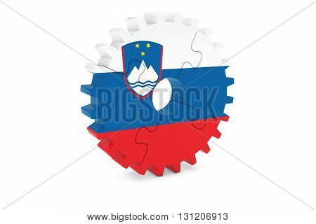 Slovenian Industry Concept - Flag Of Slovenia 3D Cog Wheel Puzzle Illustration