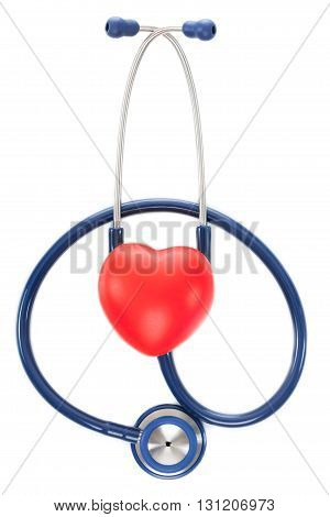 Close Up Shot Of Stethoscope And Toy Heart On White Background - Studio Shot