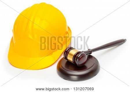 Wooden Judge Gavel With Yellow Protective Helmet - Studio Shoot