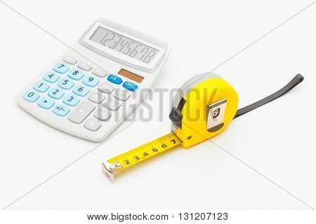 Yellow Ruler And Calculator - Instruments For Measurement And Calculating