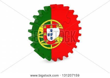 Portuguese Industry Concept - Flag Of Portugal 3D Cog Wheel Puzzle Illustration