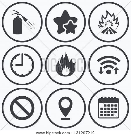 Clock, wifi and stars icons. Fire flame icons. Fire extinguisher sign. Prohibition stop symbol. Calendar symbol.