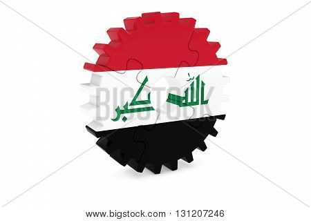 Egyptian Industry Concept - Flag Of Egypt 3D Cog Wheel Puzzle Illustration
