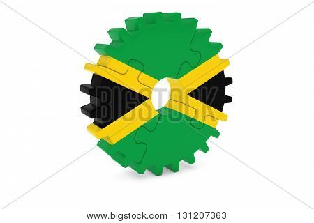 Jamaican Industry Concept - Flag Of Jamaica 3D Cog Wheel Puzzle Illustration