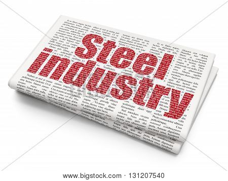 Industry concept: Pixelated red text Steel Industry on Newspaper background, 3D rendering