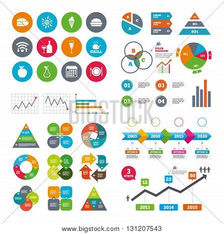 Wifi, calendar and web icons. Food, drink icons. Grill, burger and ice cream signs. Chicken, champagne and apple symbols. Diagram charts design.