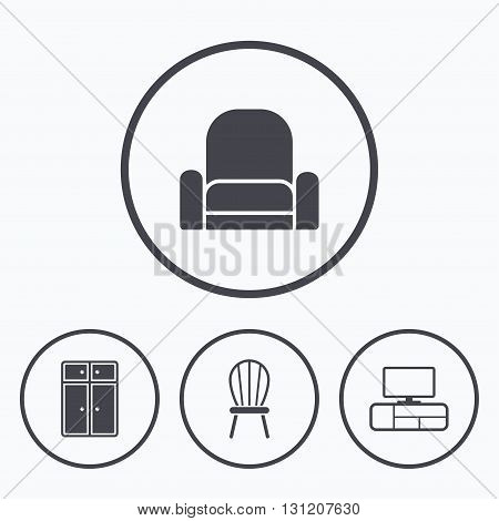 Furniture icons. Cupboard, chair and TV table signs. Modern armchair symbol. Icons in circles.