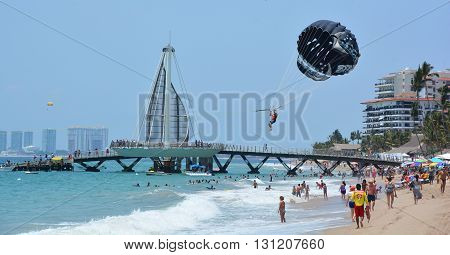 PUERTO VALLARTA MEXICO MAY 11 2016: Los Muertos pier designed by the winning architect of the Mexican Jose de Jesus Torres Vega, is one of centerpieces of an ambitious Downtown Puerto Vallarta renewal