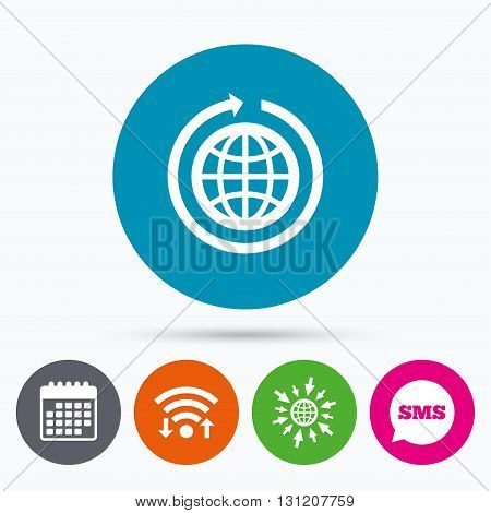 Wifi, Sms and calendar icons. Globe sign icon. Round the world arrow symbol. Full rotation. Go to web globe.