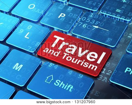 Vacation concept: computer keyboard with word Travel And Tourism on enter button background, 3D rendering