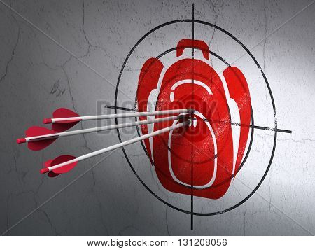 Success travel concept: arrows hitting the center of Red Backpack target on wall background, 3D rendering