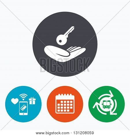 House insurance sign. Hand holds home key symbol. Insurance of property. Mobile payments, calendar and wifi icons. Bus shuttle.
