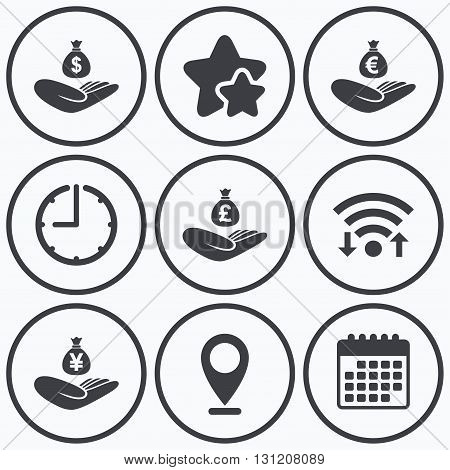 Clock, wifi and stars icons. Helping hands icons. Money insurance symbols. Hand holds cash bag in Dollars, Euro, Pounds and Yen signs. Calendar symbol.