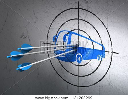 Success travel concept: arrows hitting the center of Blue Bus target on wall background, 3D rendering