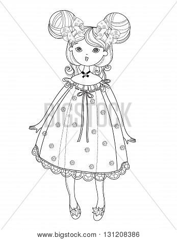 Vector cute fairy girl in nice dress.Vector line illustration.Sketch for postcard or print or coloring adult book.Boho style.