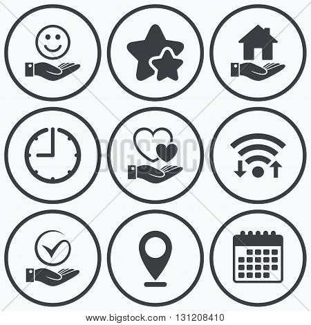 Clock, wifi and stars icons. Smile and hand icon. Heart and Tick or Check symbol. Palm holds house building sign. Calendar symbol.