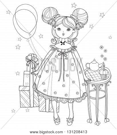 Vector cute fairy girl with gift box.Vector line illustration.Sketch for postcard or print or coloring adult book.Boho style.
