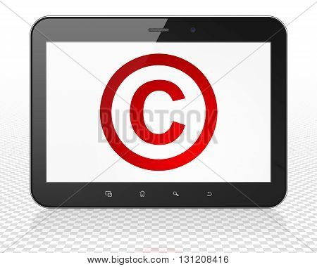 Law concept: Tablet Pc Computer with red Copyright icon on display, 3D rendering