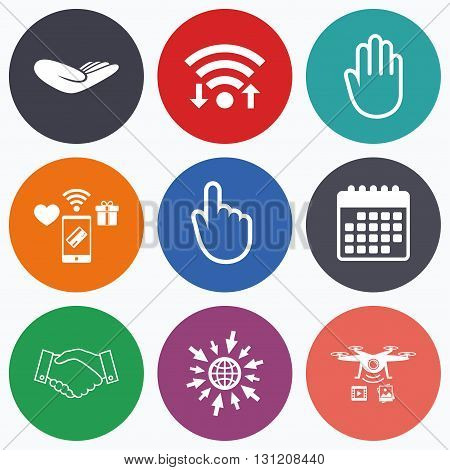 Wifi, mobile payments and drones icons. Hand icons. Handshake successful business symbol. Click here press sign. Human helping donation hand. Calendar symbol.