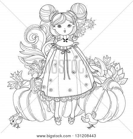 Vector cute fairy girl in garden.Vector line illustration.Sketch for postcard or print or coloring adult book.Boho style.
