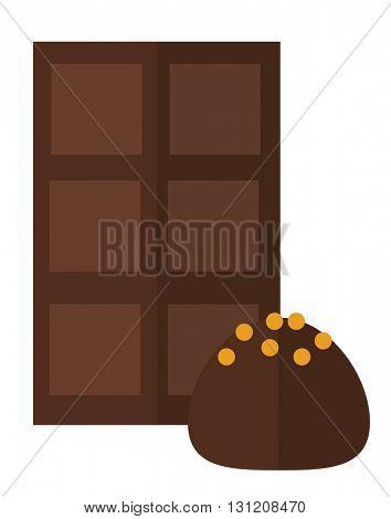 Chocolate truffle vector illustration.