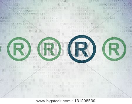 Law concept: row of Painted green registered icons around blue registered icon on Digital Data Paper background