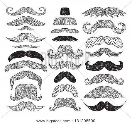 Huge set of vector mustache.
