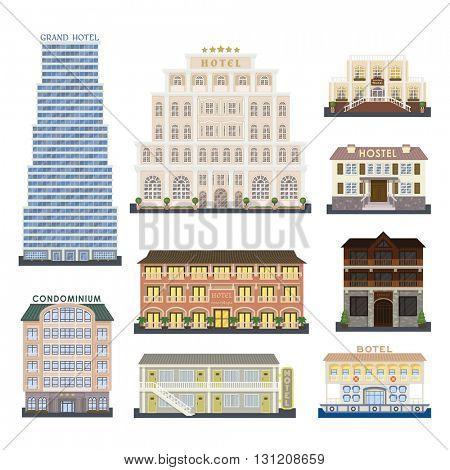 Hotel buildings vector illustration.