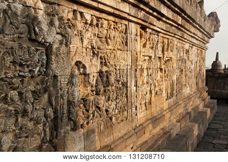 Wall at the Borobudur temple near Yogyakarta, Java, Indonesia.
