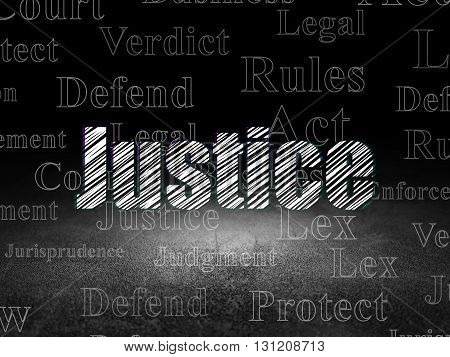 Law concept: Glowing text Justice in grunge dark room with Dirty Floor, black background with  Tag Cloud