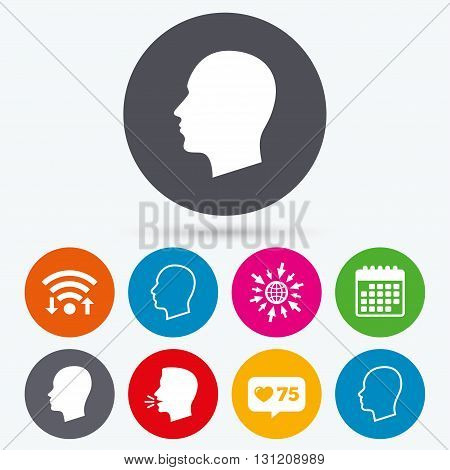 Wifi, like counter and calendar icons. Head icons. Male and female human sign symbols. Human talk, go to web.