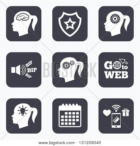 Mobile payments, wifi and calendar icons. Head with brain and idea lamp bulb icons. Female woman think symbols. Cogwheel gears signs. Go to web symbol.