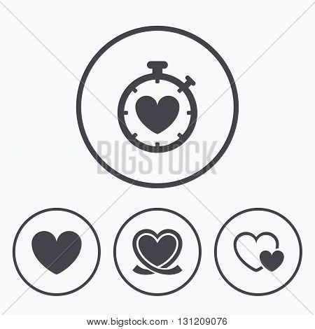 Heart ribbon icon. Timer stopwatch symbol. Love and Heartbeat palpitation signs. Icons in circles.