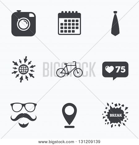 Calendar, like counter and go to web icons. Hipster photo camera. Mustache with beard icon. Glasses and tie symbols. Bicycle sign. Location pointer.