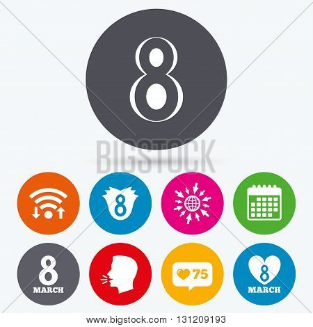 Wifi, like counter and calendar icons. 8 March Women's Day icons. Tulip or rose flower and heart sign symbols. Human talk, go to web.