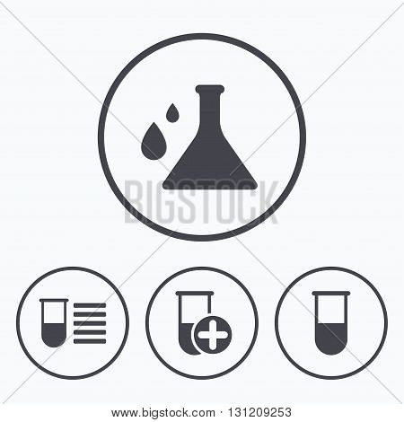 Chemistry bulb with drops icon. Medical test signs. Laboratory equipment symbols. Icons in circles.