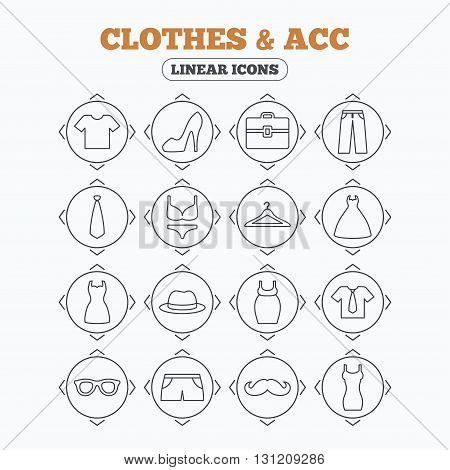 Linear icons with direction arrows. Clothes and accessories icons. Shirt with tie, pants and woman dress symbols. Hat, hanger and glasses thin outline signs. Underwear and maternity clothes. Circle buttons.
