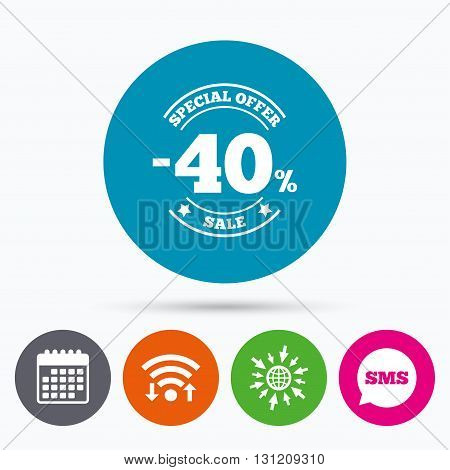 Wifi, Sms and calendar icons. 40 percent discount sign icon. Sale symbol. Special offer label. Go to web globe.