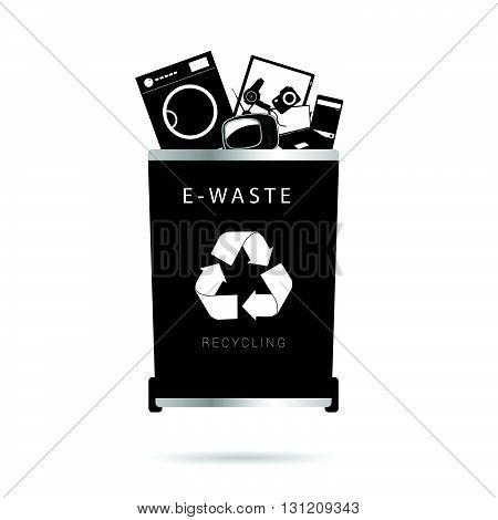 trash can dump illustration in in black color