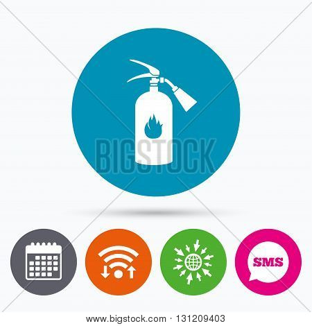 Wifi, Sms and calendar icons. Fire extinguisher sign icon. Fire safety symbol. Go to web globe.
