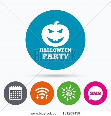 Wifi, Sms and calendar icons. Halloween pumpkin sign icon. Halloween party symbol. Go to web globe.