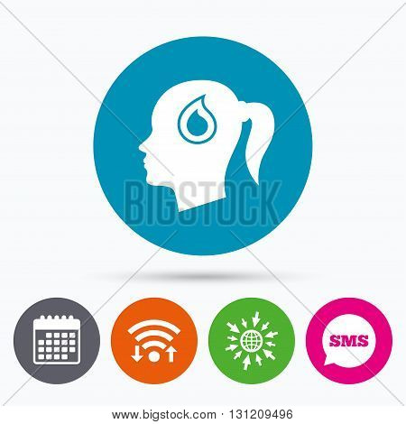 Wifi, Sms and calendar icons. Head with blood drop sign icon. Female woman human head symbol. Go to web globe.