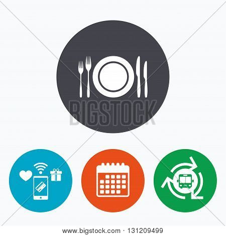 Plate dish with forks and knifes. Eat sign icon. Cutlery etiquette rules symbol. Mobile payments, calendar and wifi icons. Bus shuttle.