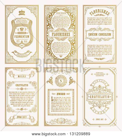 Vintage set retro cards. Template greeting card wedding invitation. Line calligraphic frames. Floral engraving design labels advertising place for text. Flourishes frame background