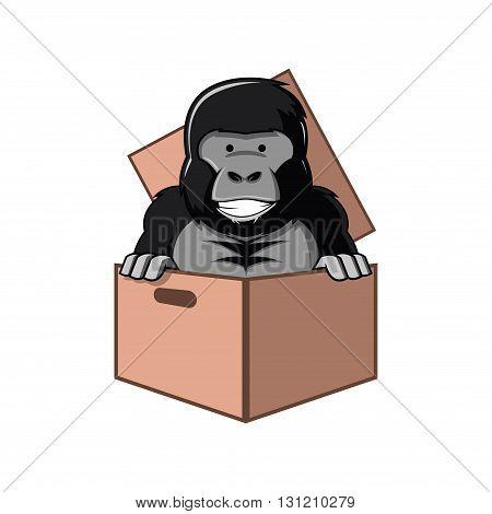 Symbol of Gorilla Cartoon in Box Cardboard Package