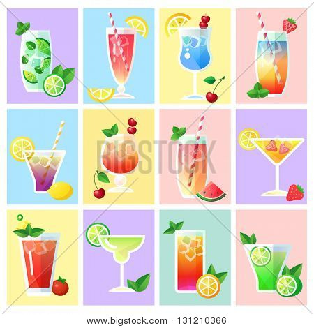 Collection of cocktails with fruit, flat design