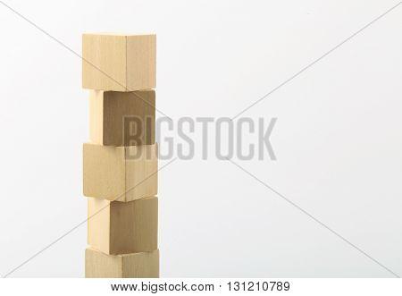 Wooden Blocks Tower On White Background