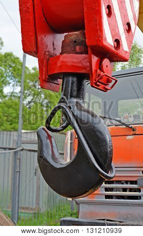 Hook suspension bracket of the truck crane close up.