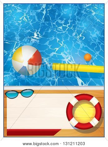 A blank swimming pool background with room for copy for a party invitation or special event. Vector EPS 10 available.