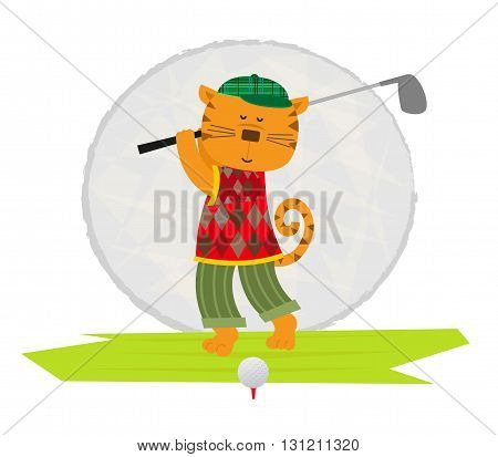 Cartoon clip art of a cat playing golf